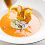 "ALT=""tallinn tv tower, food photography, yellow seafood soup, restaurant food, katrin press"""