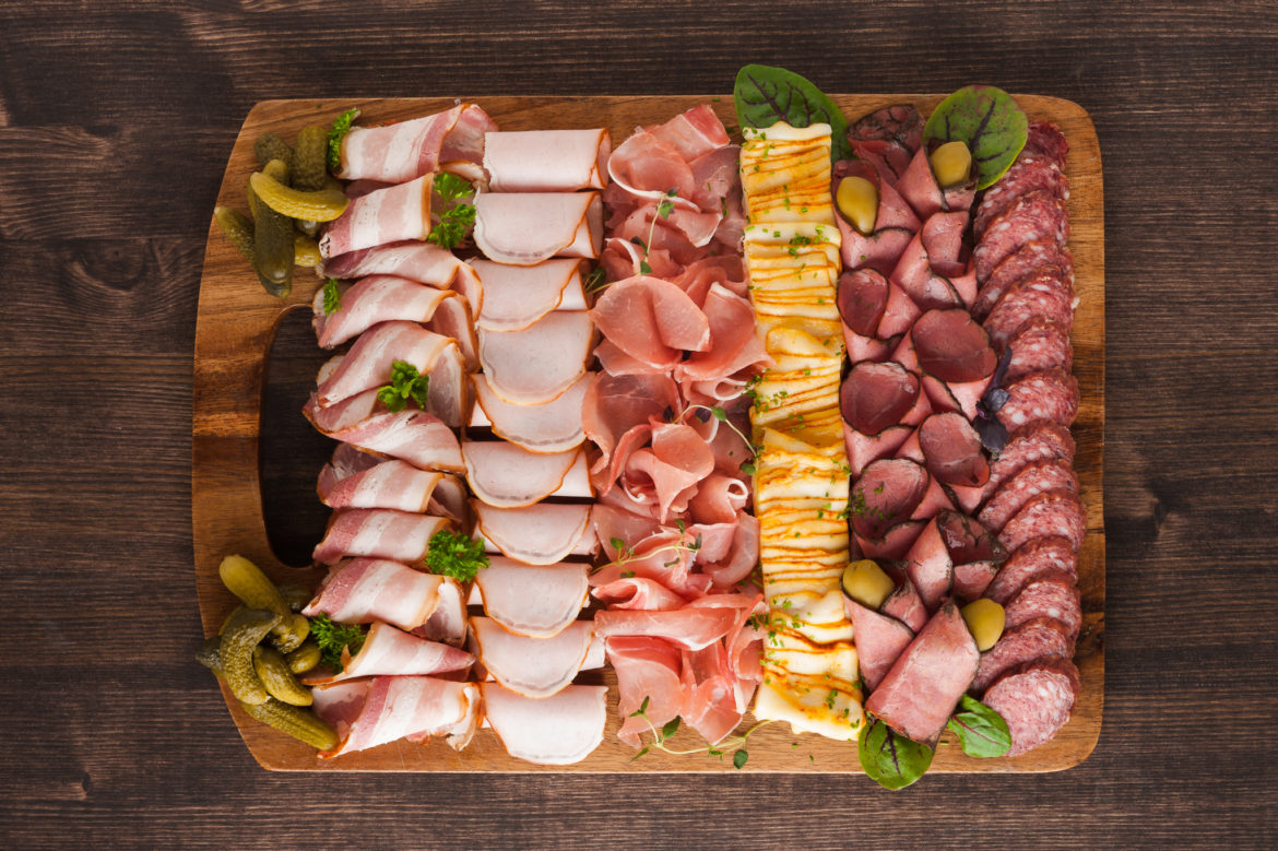 """ALT=""""charcuterie, meat, bacon, slices, platter, cutting board, commercial food, katrin press"""""""