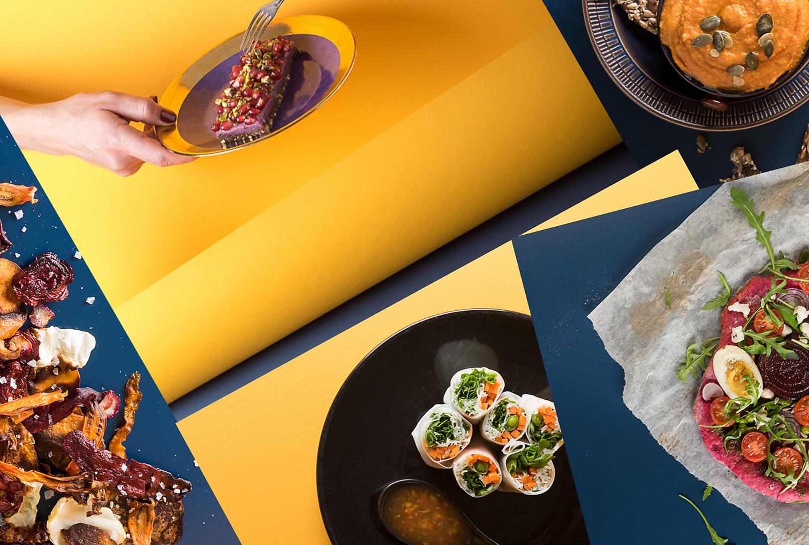 """ALT=""""colorful food, yellow paper, edges, editorial, fresh, vegan, recipe, estonia, magazine"""""""