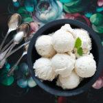 "ALT=""vanilla ice cream, dark background, spoons, flowers, food art, katrin press photography, toidufoto"""